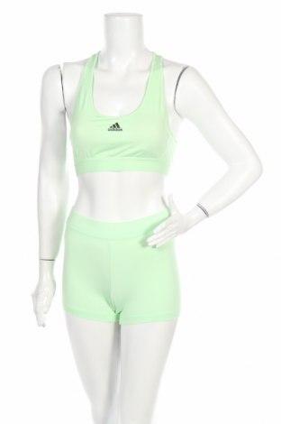 Dámsky športový komplet  Adidas, Veľkosť S, Farba Zelená, 86% polyamide, 14% elastan, Cena  31,20€