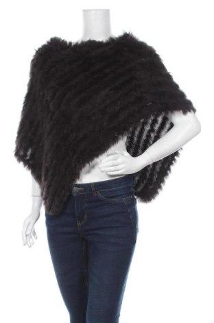 Пончо, Размер M, Цвят Кафяв, Акрил, естествен косъм, Цена 40,27лв.