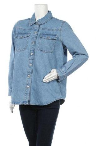 Γυναικείο πουκάμισο Pieces, Μέγεθος M, Χρώμα Μπλέ, Βαμβάκι, Τιμή 26,68€