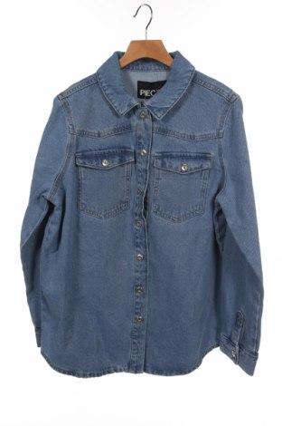 Дамска риза Pieces, Размер XS, Цвят Син, Памук, Цена 31,27лв.