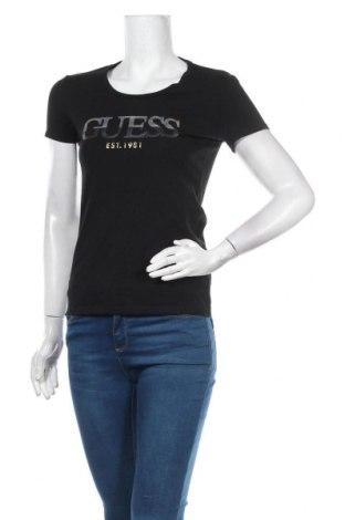 Дамска тениска Guess, Размер M, Цвят Черен, 95% памук, 5% еластан, Цена 50,32лв.
