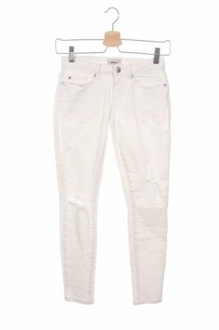 Дамски дънки ONLY, Размер XXS, Цвят Бял, 98% памук, 2% еластан, Цена 15,32лв.