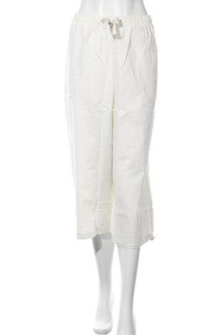 Дамски панталон, Размер XL, Цвят Бял, 55% лен, 45% памук, Цена 21,60лв.