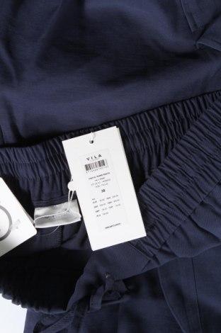 Дамски панталон Vila, Размер M, Цвят Син, 90% вискоза, 10% полиестер, Цена 13,38лв.