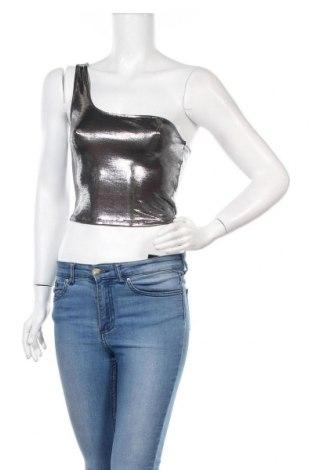 Γυναικείο αμάνικο μπλουζάκι H&M Divided, Μέγεθος S, Χρώμα Ασημί, 95% πολυεστέρας, 5% ελαστάνη, Τιμή 9,74€