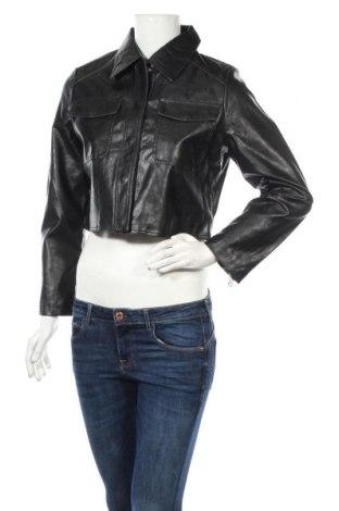 Дамско кожено яке Glamorous, Размер M, Цвят Черен, Еко кожа, Цена 26,91лв.