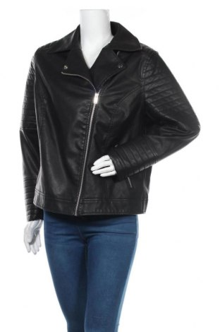 Дамско кожено яке New Look, Размер XL, Цвят Черен, Еко кожа, Цена 41,87лв.