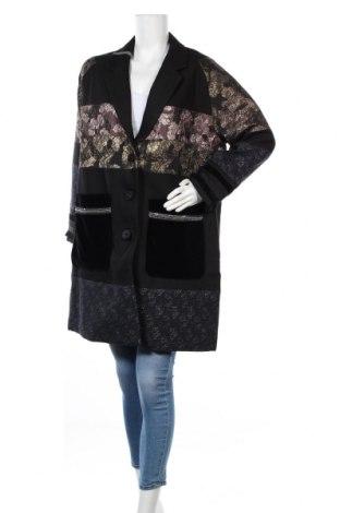 Γυναικείο παλτό Desigual, Μέγεθος XL, Χρώμα Μαύρο, 76% βαμβάκι, 20% πολυεστέρας, 1%ακρυλικό, 1% μεταλλικά νήματα, 1% πολυαμίδη, 1% βισκόζη, Τιμή 161,99€