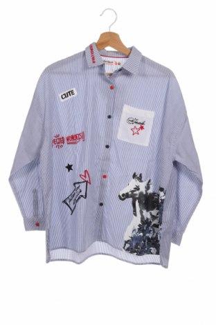 Παιδικό πουκάμισο Desigual, Μέγεθος 12-13y/ 158-164 εκ., Χρώμα Μπλέ, 52% πολυεστέρας, 48% βαμβάκι, Τιμή 24,19€