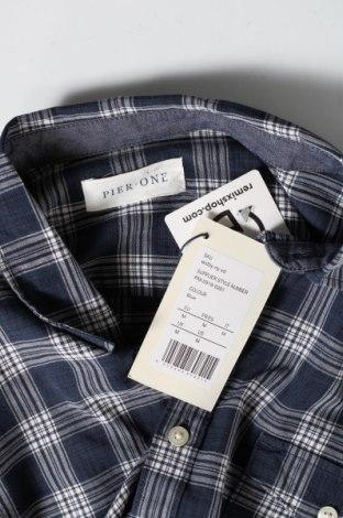 Мъжка риза Pier One, Размер M, Цвят Син, 55% памук, 45% лиосел, Цена 14,00лв.