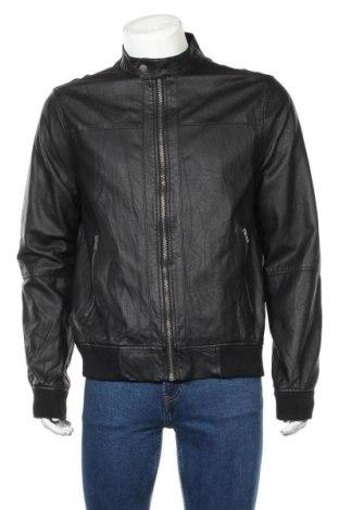 Ανδρικό δερμάτινο μπουφάν H&M Divided, Μέγεθος L, Χρώμα Μαύρο, Δερματίνη, Τιμή 20,46€