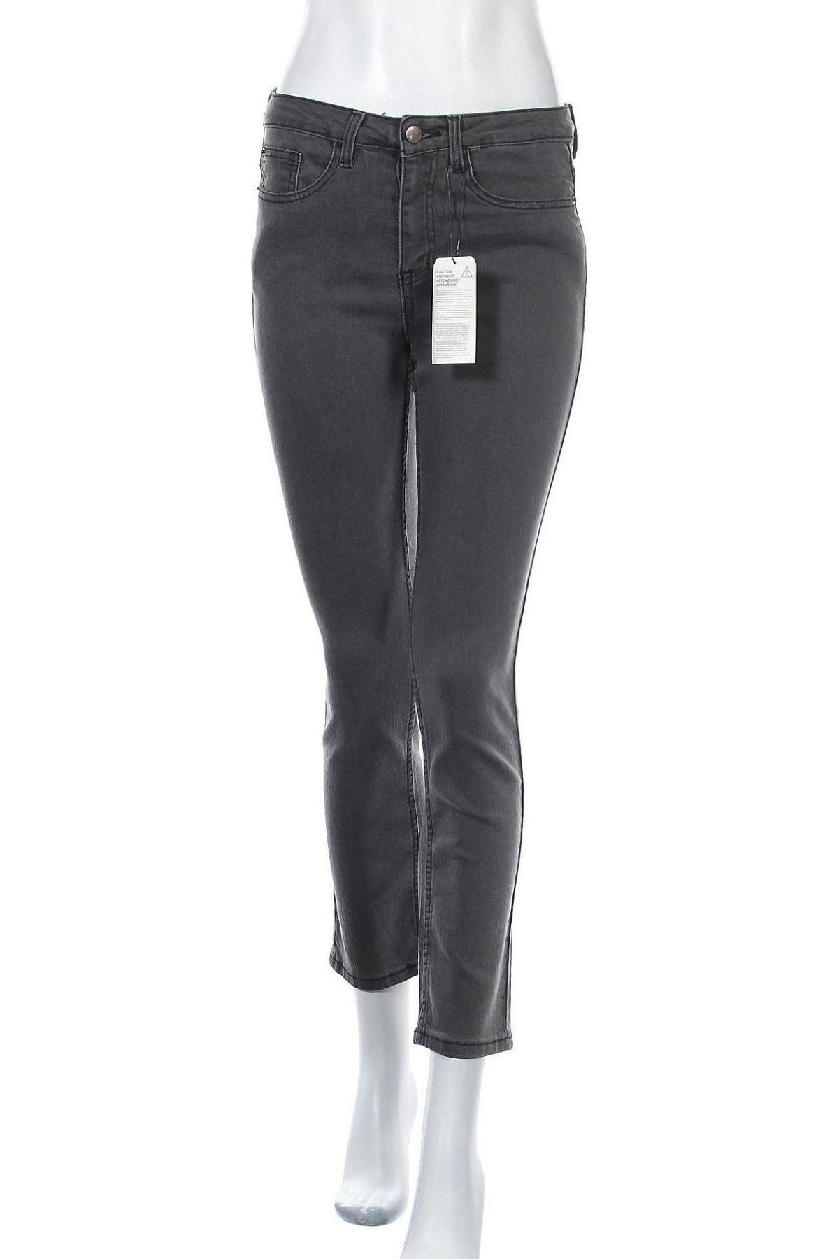 Дамски дънки, Размер S, Цвят Сив, 75% памук, 23% полиестер, 2% еластан, Цена 18,32лв.