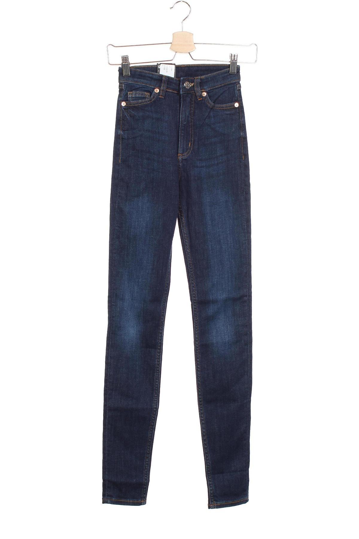 Дамски дънки Monki, Размер XXS, Цвят Син, 86% памук, 12% полиестер, 2% еластан, Цена 19,27лв.