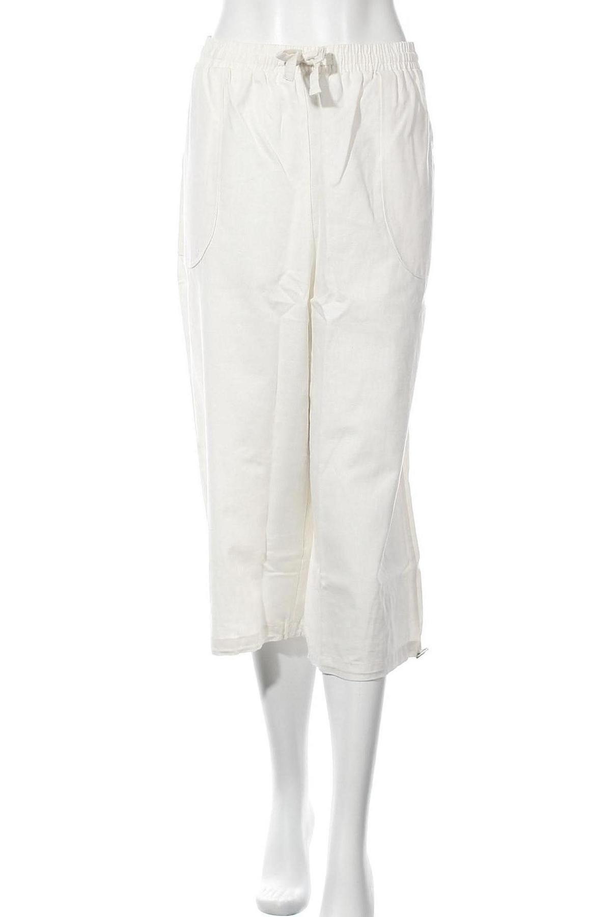 Дамски панталон, Размер XL, Цвят Бял, 55% лен, 45% памук, Цена 24,08лв.