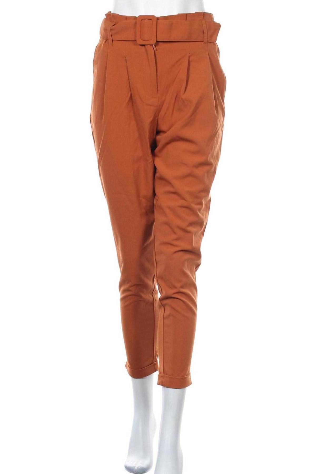 Дамски панталон ONLY, Размер S, Цвят Кафяв, 63% полиестер, 33% вискоза, 4% еластан, Цена 17,22лв.