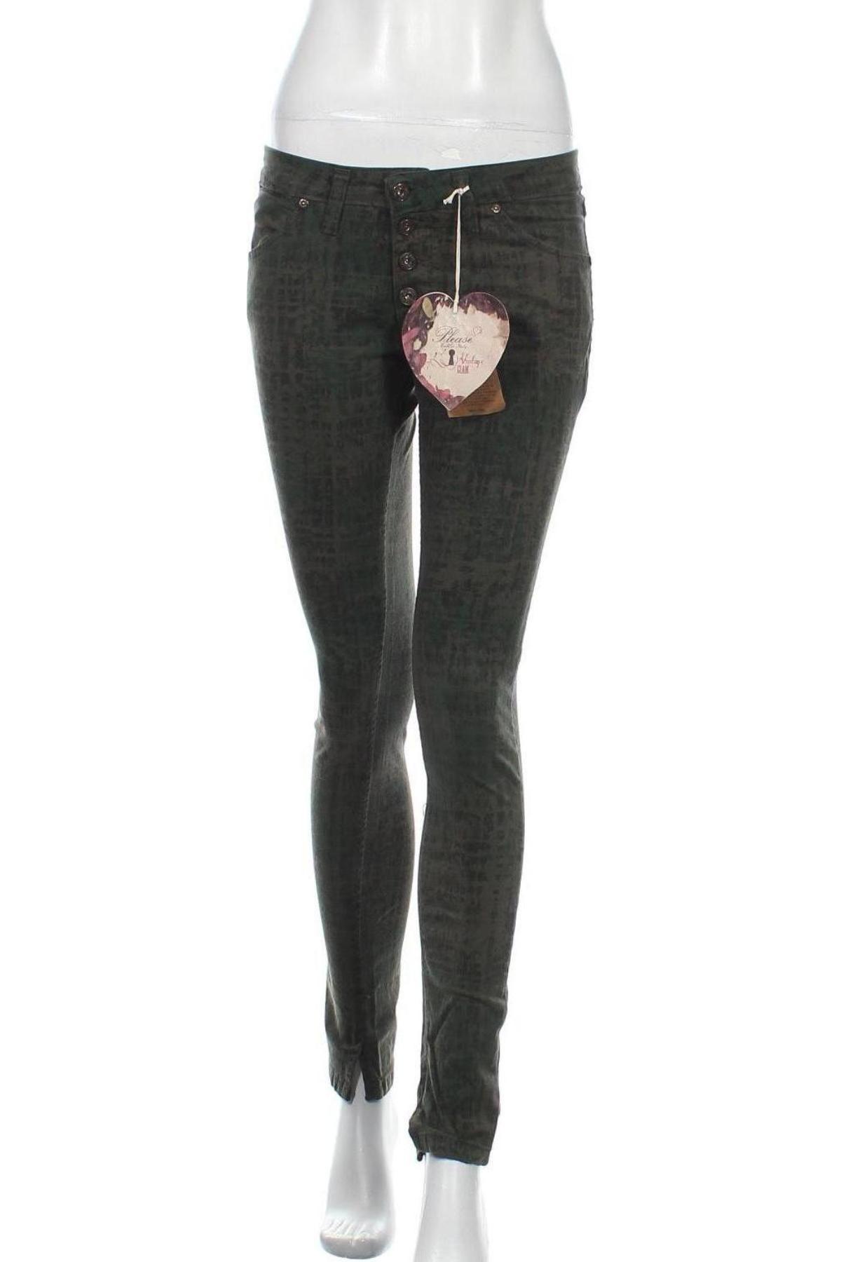 Дамски панталон Please, Размер S, Цвят Зелен, 97% памук, 3% еластан, Цена 21,93лв.