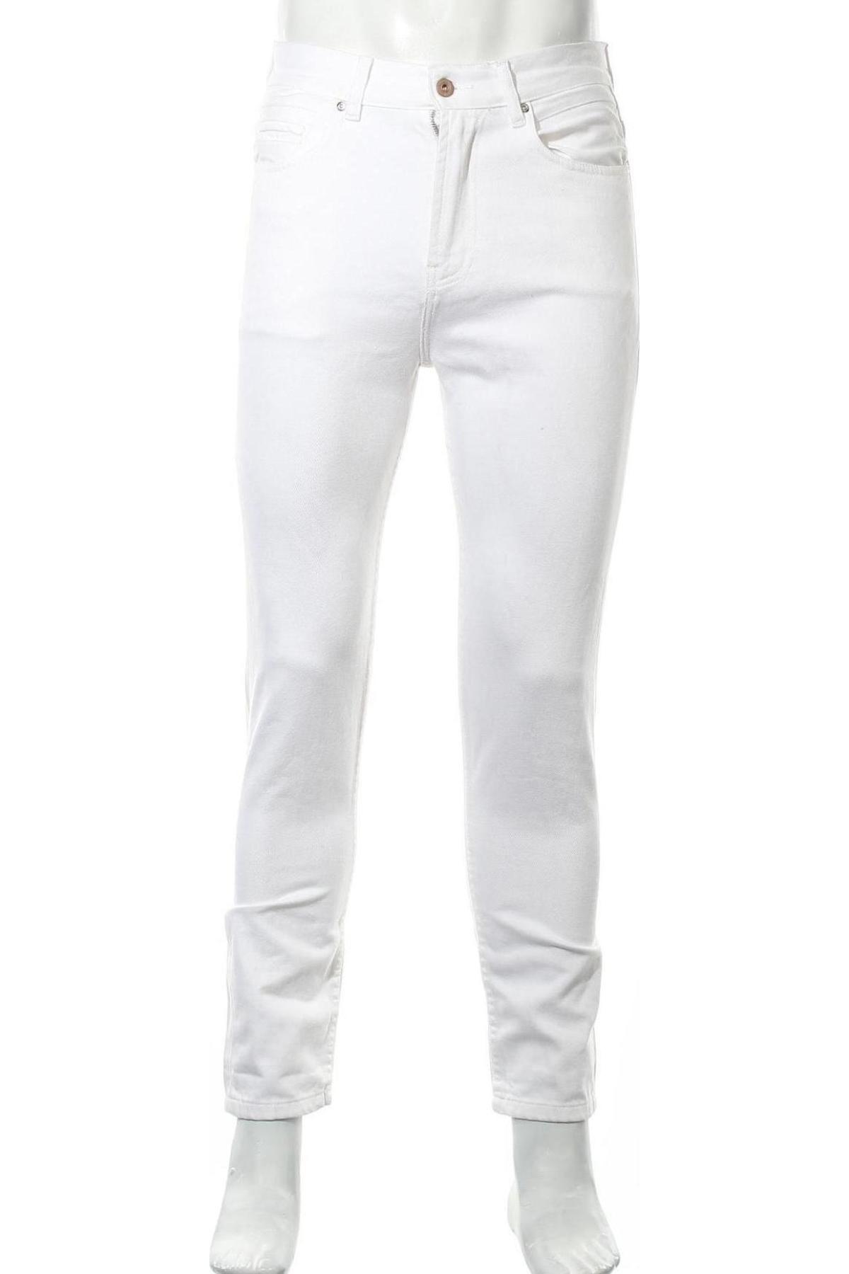 Мъжки дънки Zara Man, Размер S, Цвят Бял, 100% памук, Цена 44,25лв.