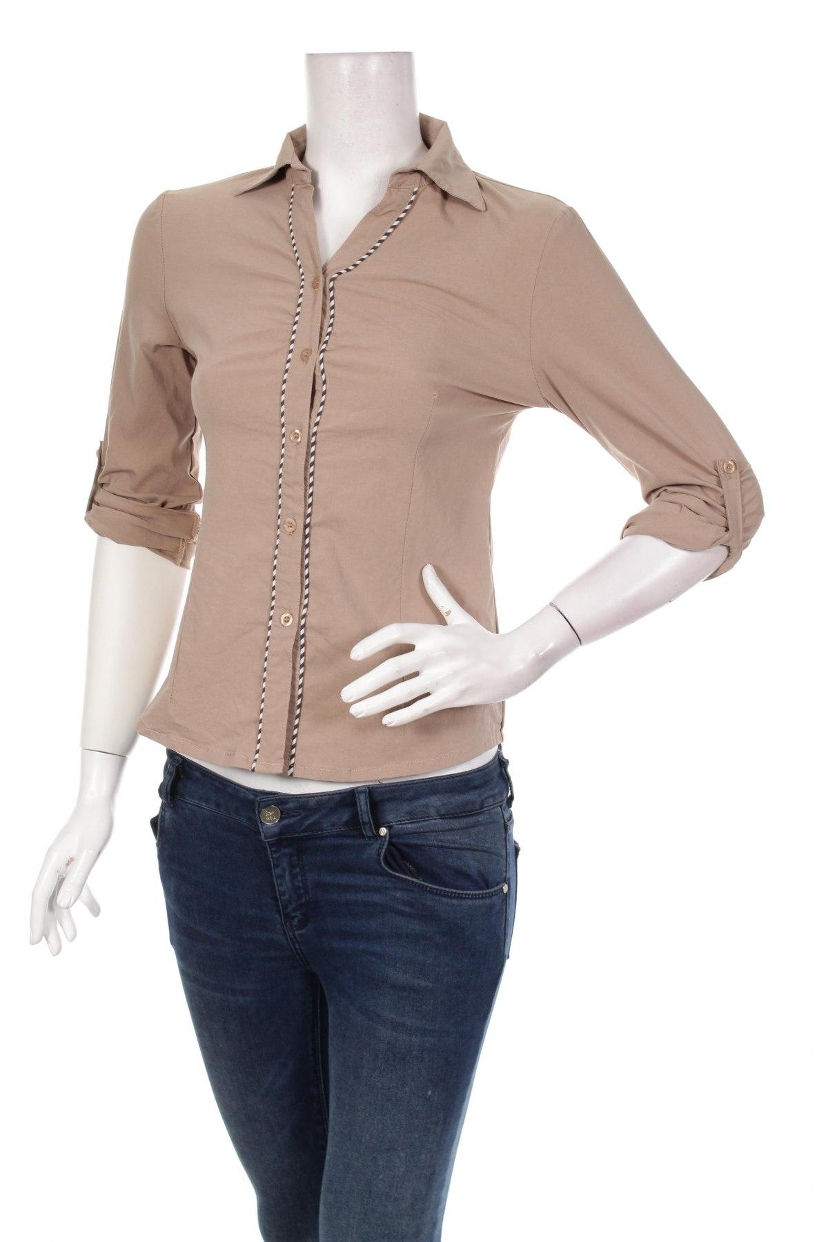 Γυναικείο πουκάμισο Flora, Μέγεθος S, Χρώμα  Μπέζ, 65% βαμβάκι, 27% πολυαμίδη, 8% ελαστάνη, Τιμή 17,53€