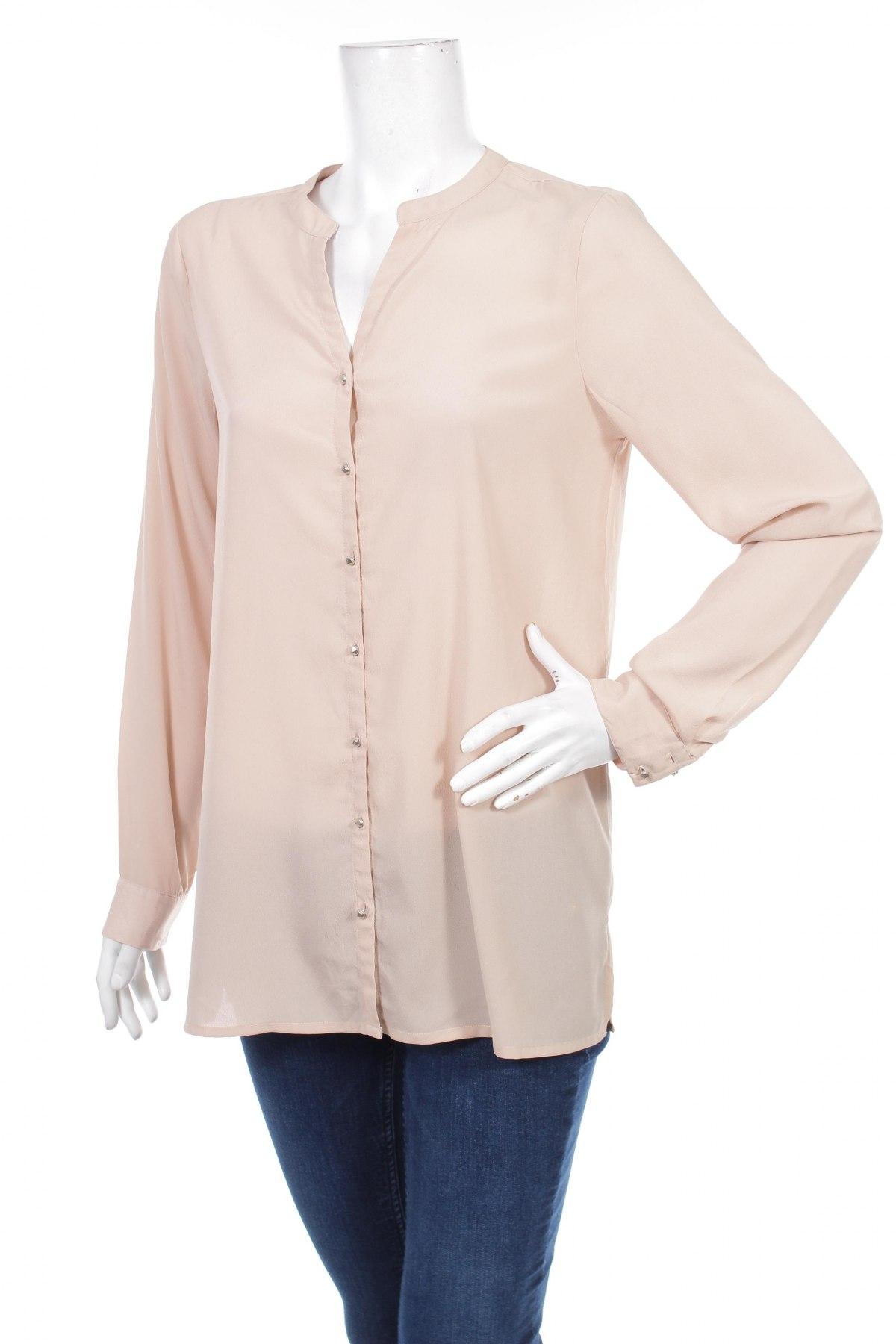 Γυναικείο πουκάμισο Vero Moda, Μέγεθος M, Χρώμα  Μπέζ, 100% πολυεστέρας, Τιμή 18,56€