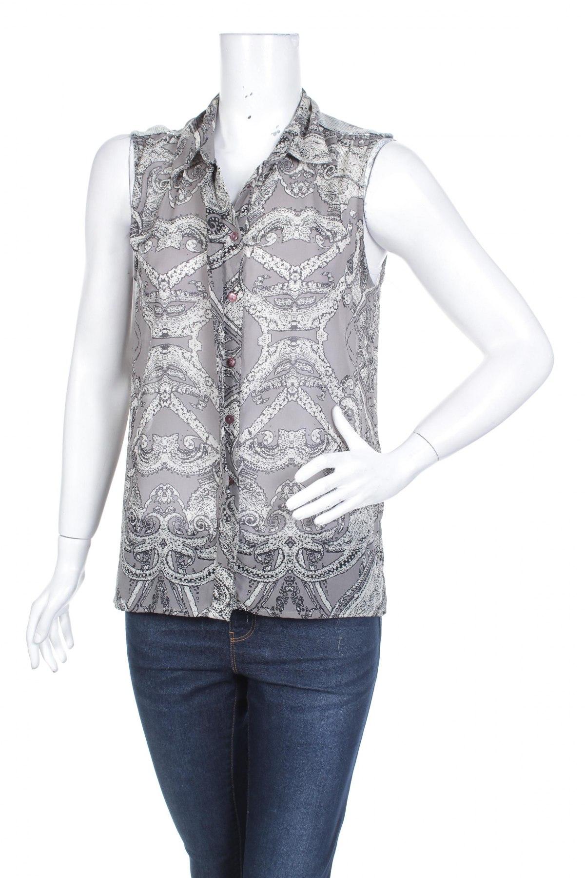 Γυναικείο πουκάμισο Vila, Μέγεθος M, Χρώμα Γκρί, 100% πολυεστέρας, Τιμή 11,75€