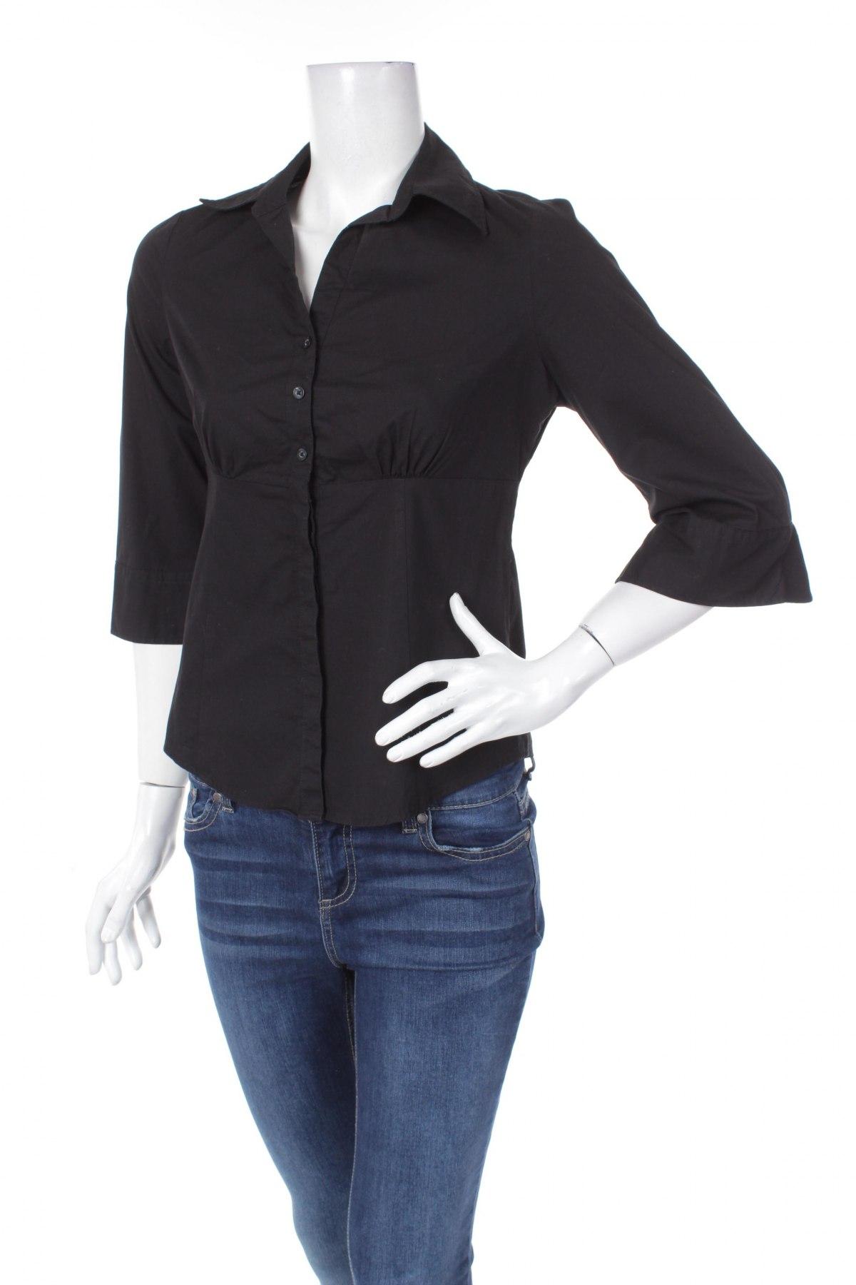 Γυναικείο πουκάμισο Yessica, Μέγεθος M, Χρώμα Μαύρο, 97% βαμβάκι, 3% ελαστάνη, Τιμή 14,95€