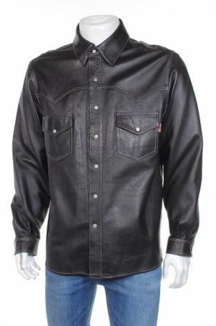 Мъжко кожено яке, Размер L, Цвят Черен, Естествена кожа, Цена 83,27лв.