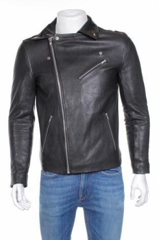 Мъжко кожено яке ASOS, Размер S, Цвят Черен, Естествена кожа, Цена 77,74лв.