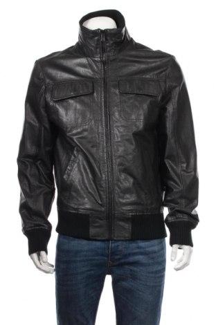 Мъжко кожено яке Jack & Jones, Размер L, Цвят Черен, Естествена кожа, Цена 70,56лв.