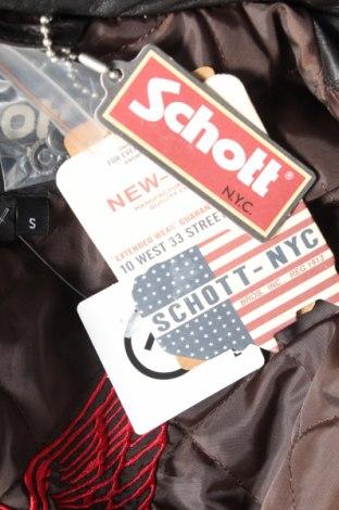 Мъжко кожено яке Schott, Размер S, Цвят Кафяв, Естествена кожа, Цена 301,95лв.