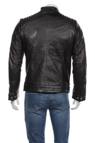 Мъжко кожено яке Schott, Размер M, Цвят Черен, Естествена кожа, Цена 353,40лв.