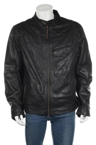 Мъжко кожено яке Timberland, Размер XXL, Цвят Черен, Естествена кожа, Цена 296,45лв.