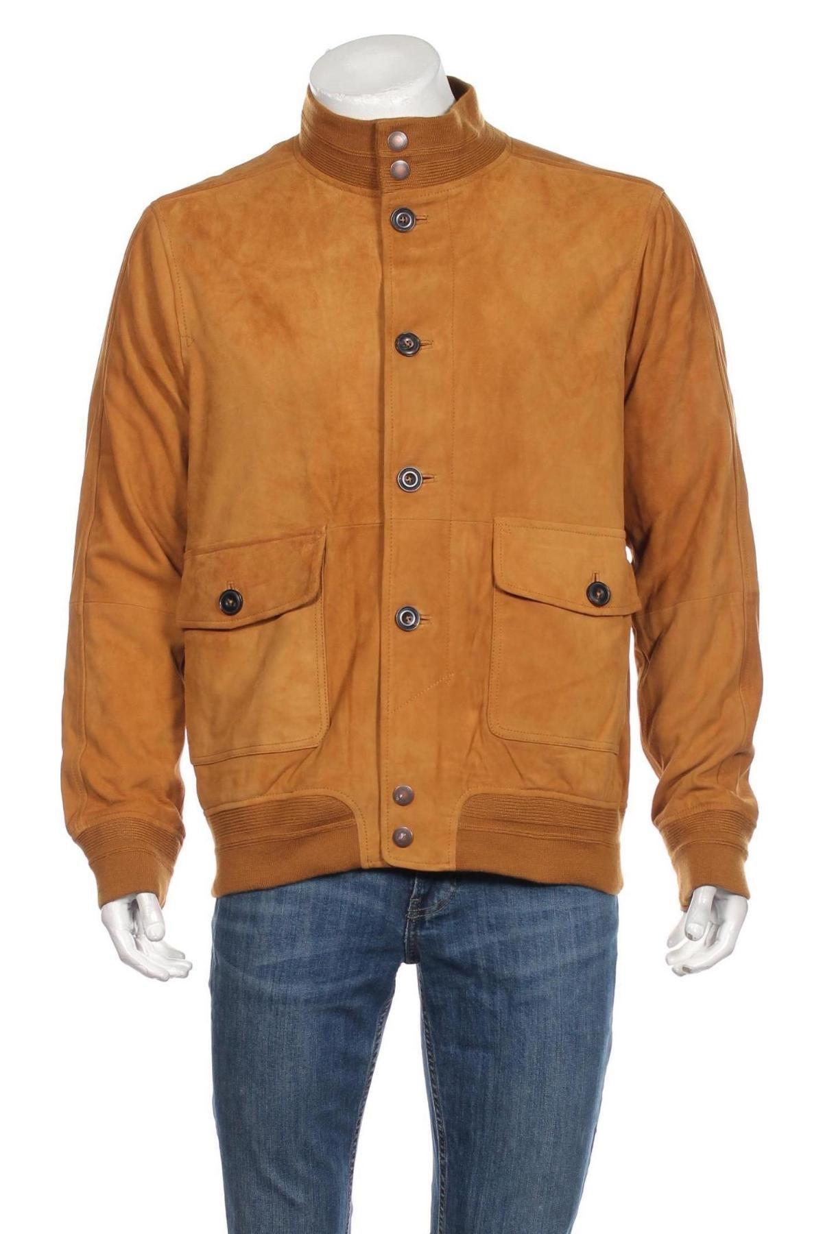 Мъжко кожено яке Timberland, Размер L, Цвят Кафяв, Естествен велур, Цена 413,40лв.