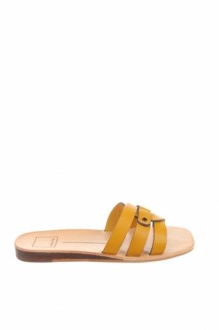 Γυναικείες παντόφλες Dolce Vita, Μέγεθος 36, Χρώμα Κίτρινο, Γνήσιο δέρμα, Τιμή 17,18€