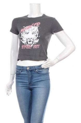 Bluză de femei Bershka, Mărime M, Culoare Gri, Bumbac, Preț 33,39 Lei