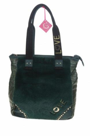 Γυναικεία τσάντα Lola Casademunt, Χρώμα Πράσινο, Κλωστοϋφαντουργικά προϊόντα, γνήσιο δέρμα, Τιμή 34,41€