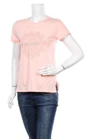Γυναικείο t-shirt Desigual, Μέγεθος S, Χρώμα Ρόζ , Βαμβάκι, Τιμή 26,68€
