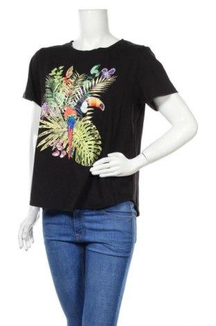 Γυναικείο t-shirt October, Μέγεθος M, Χρώμα Μαύρο, 95% βαμβάκι, 5% ελαστάνη, Τιμή 10,82€