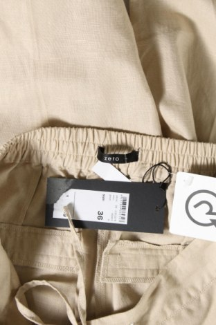 Дамски панталон Zero, Размер S, Цвят Бежов, 55% лен, 45% памук, Цена 8,32лв.
