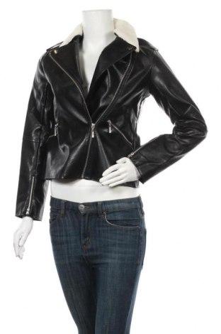 Дамско кожено яке Venca, Размер S, Цвят Черен, Еко кожа, Цена 35,28лв.