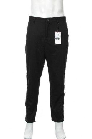 Pantaloni de bărbați Bershka, Mărime L, Culoare Negru, 66% poliester, 32% viscoză, 2% elastan, Preț 61,58 Lei