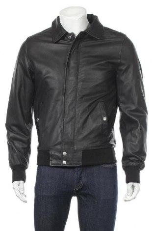 Мъжко кожено яке Schott, Размер M, Цвят Черен, Естествена кожа, Цена 172,32лв.