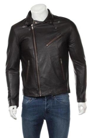 Ανδρικό δερμάτινο μπουφάν Selected Homme, Μέγεθος L, Χρώμα Μαύρο, Γνήσιο δέρμα, Τιμή 161,99€