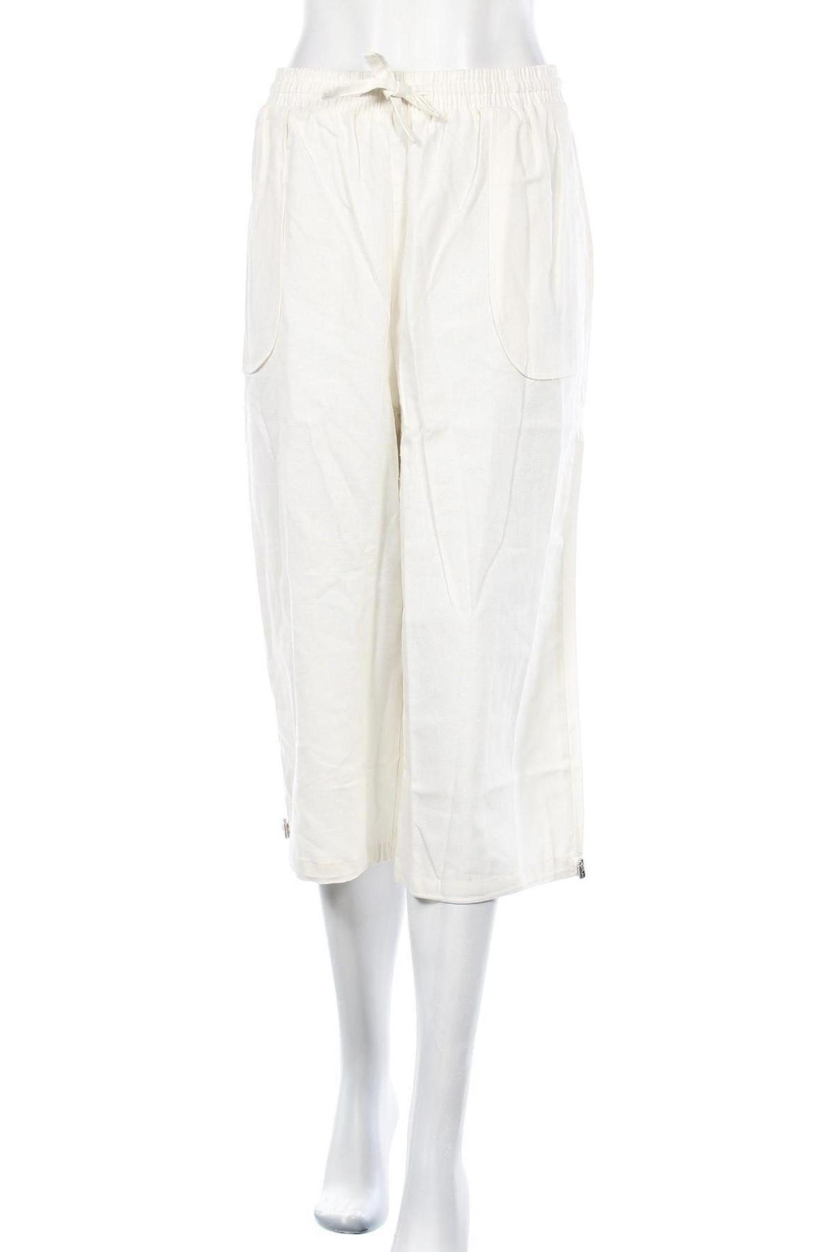 Дамски панталон, Размер XL, Цвят Бял, 55% лен, 45% памук, Цена 21,83лв.