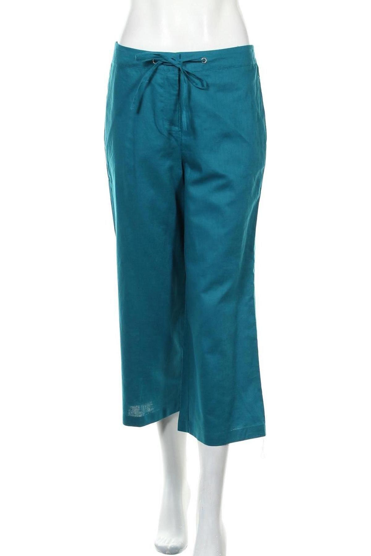 Дамски панталон Zero, Размер M, Цвят Син, 55% лен, 45% памук, Цена 11,85лв.