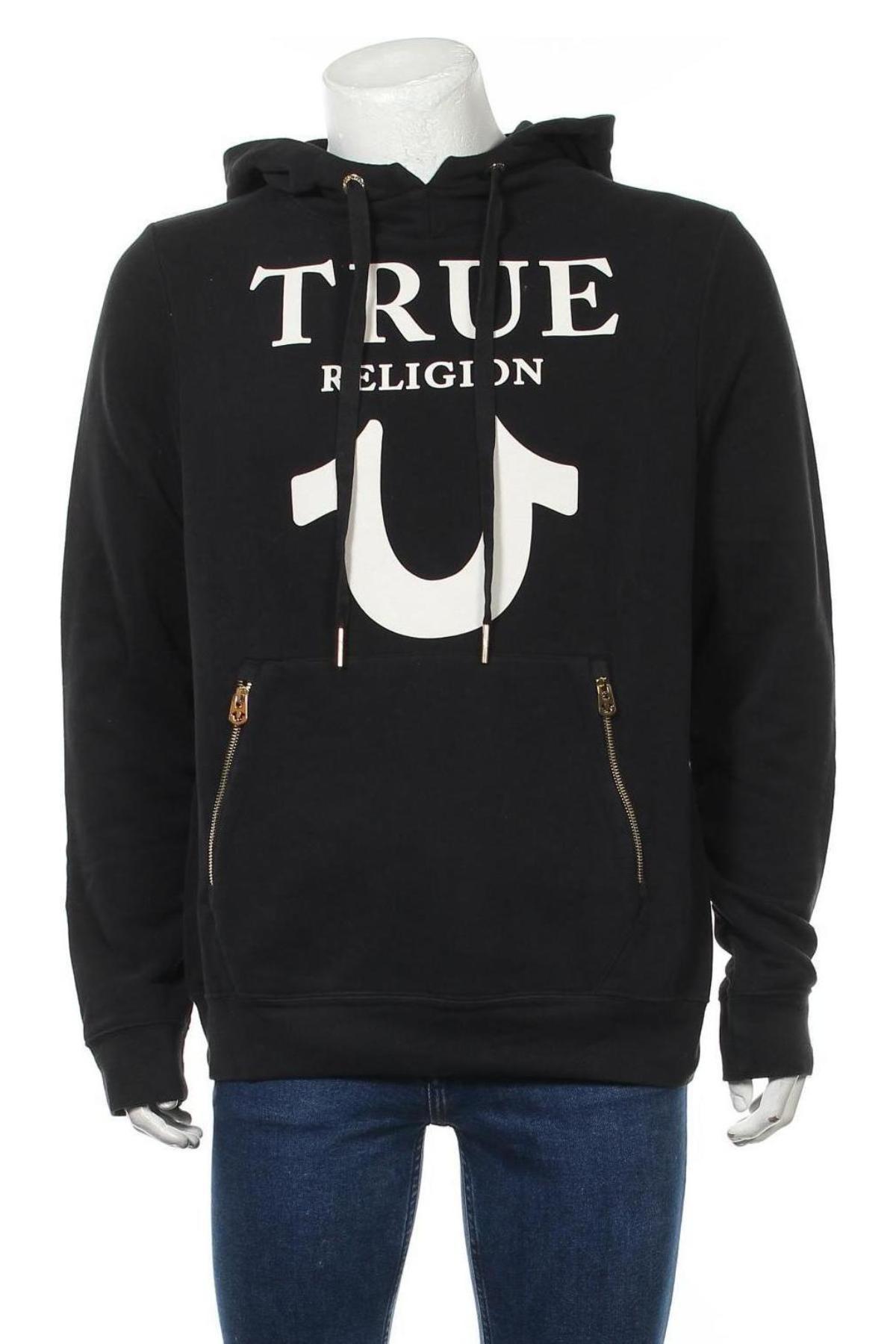 Hanorac de bărbați True Religion, Mărime XL, Culoare Negru, 84% bumbac, 16% poliester, Preț 342,93 Lei