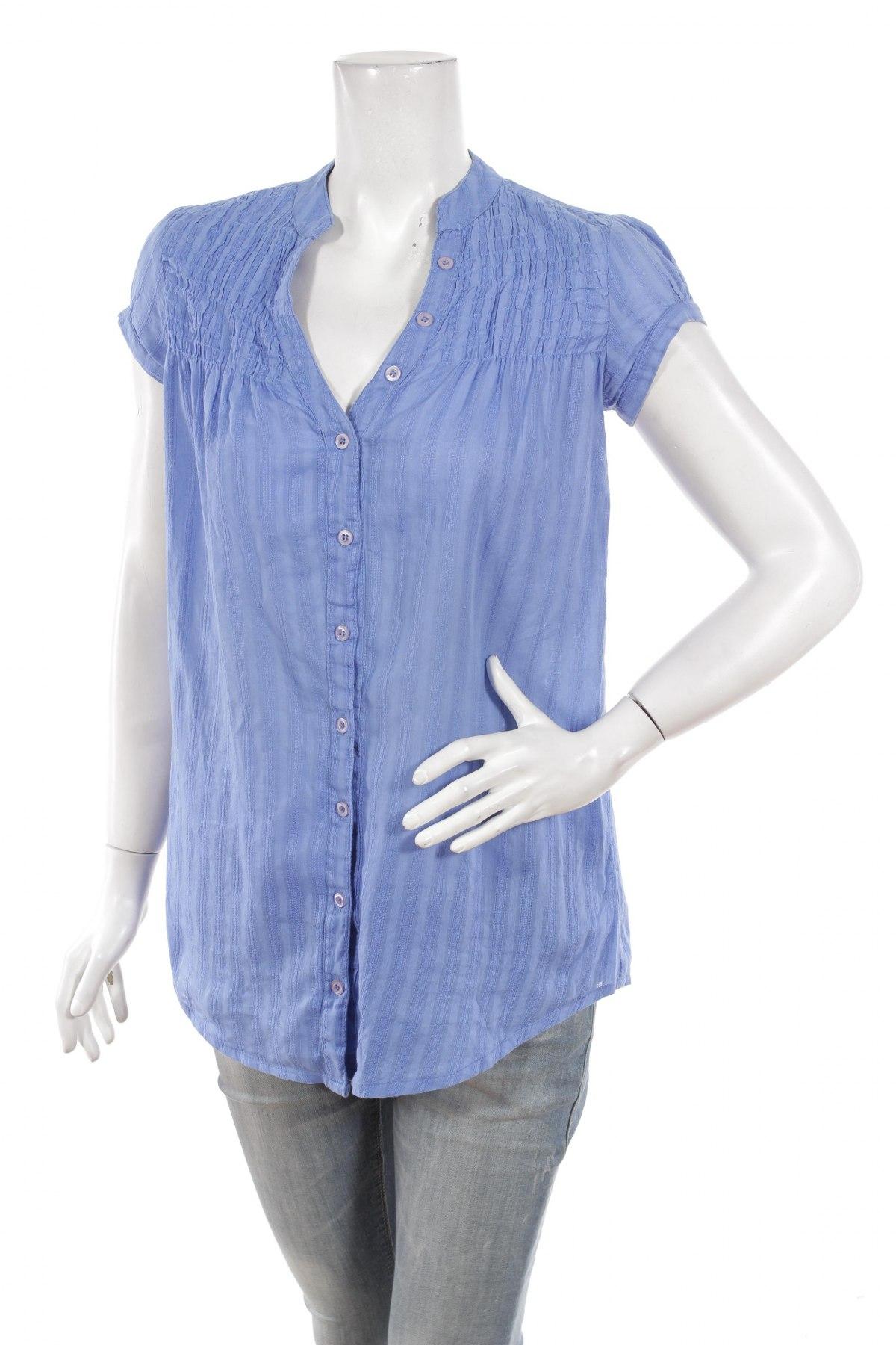 Γυναικείο πουκάμισο Stradivarius, Μέγεθος M, Χρώμα Μπλέ, 100% βαμβάκι, Τιμή 11,13€