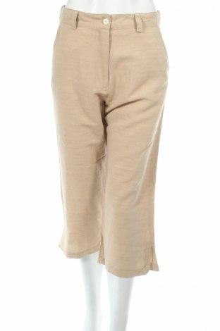 Дамски панталон PLOUMANAC'H, Размер M, Цвят Бежов, 43% вискоза, 39% памук, 18% лен, Цена 17,22лв.