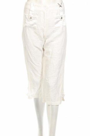 Дамски панталон PLOUMANAC'H, Размер S, Цвят Бял, 55% лен, 45% памук, Цена 22,10лв.