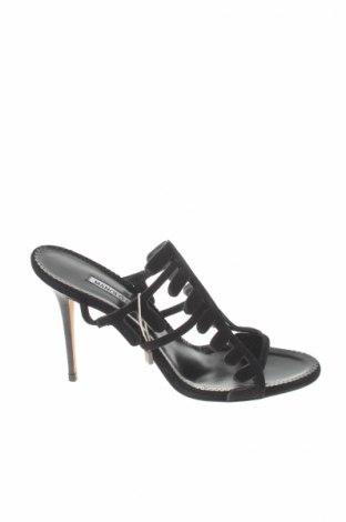 Sandále Manolo Blahnik, Veľkosť 38, Farba Čierna, Prírodný velur , pravá koža , Cena  175,13€