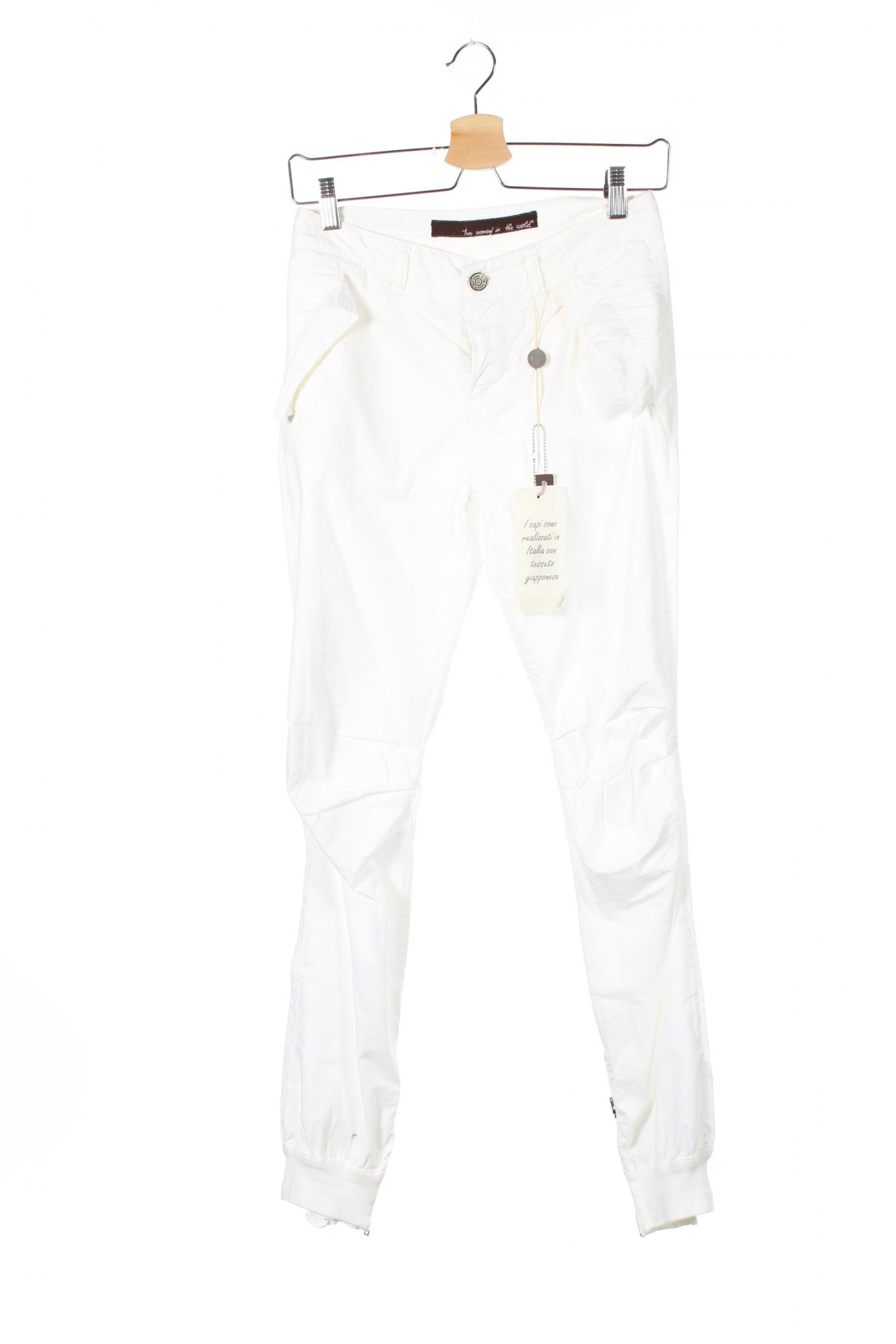 Дамски панталон Two Women In The World, Размер XS, Цвят Бял, Памук, Цена 41,55лв.